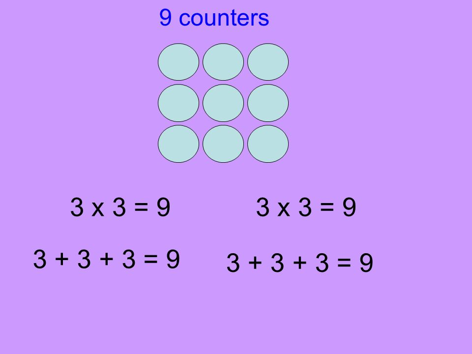9 counters 3 x 3 = 9 3 x 3 = 9 3 + 3 + 3 = 9 3 + 3 + 3 = 9
