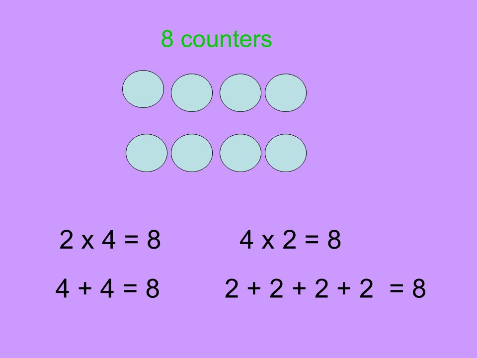 8 counters 2 x 4 = 8 4 x 2 = 8 4 + 4 = 8 2 + 2 + 2 + 2 = 8