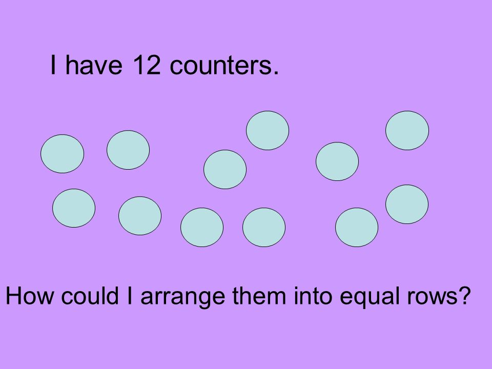 I have 12 counters. How could I arrange them into equal rows