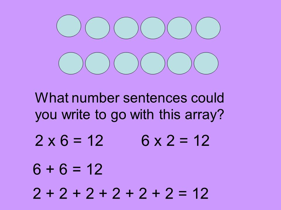 What number sentences could you write to go with this array