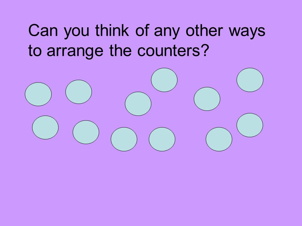 Can you think of any other ways to arrange the counters