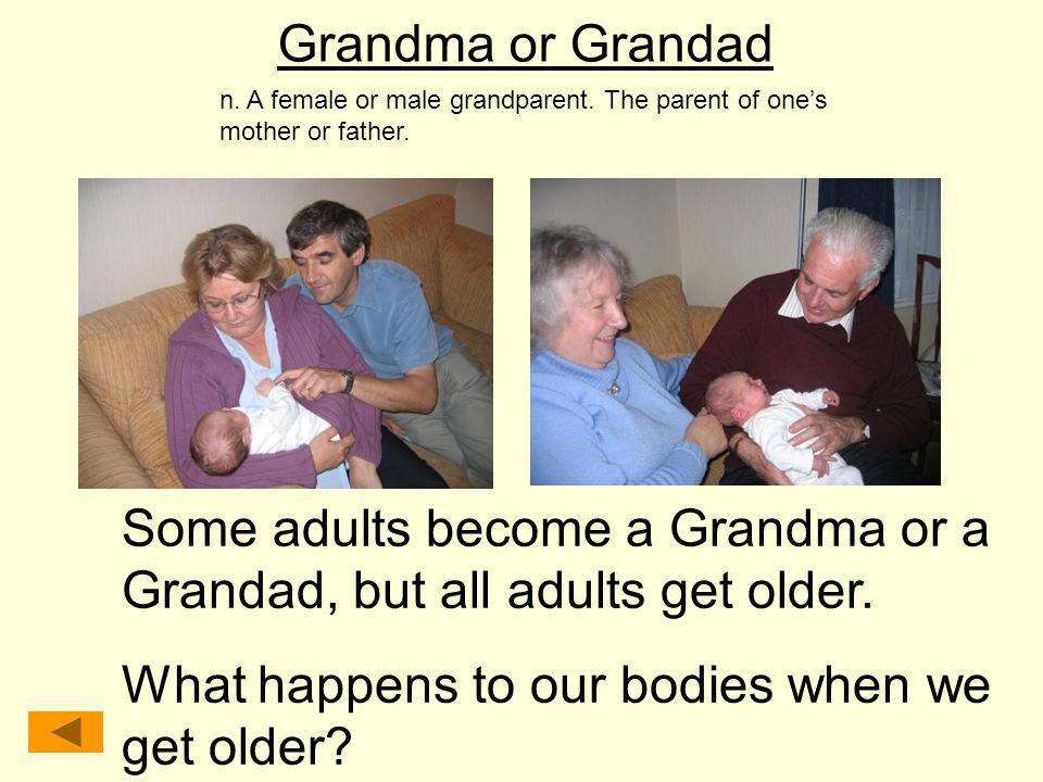 Some adults become a Grandma or a Grandad, but all adults get older.
