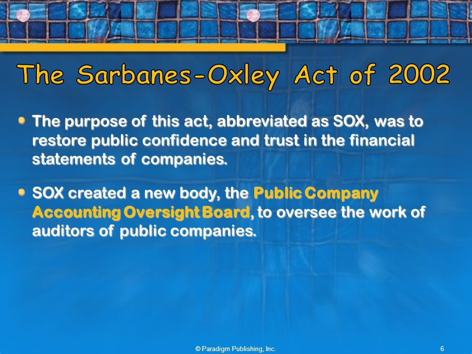 sarbanes oxley act of 2002 acc 290 In 2002, the sarbanes-oxley act (sox) was enacted because of several high profile companies conducting shady accounting practices the bankruptcy of enron in 2001 totaling $62 billion in assets financially crippled employees and retirees of the enron corporation the shear lack of attention and.