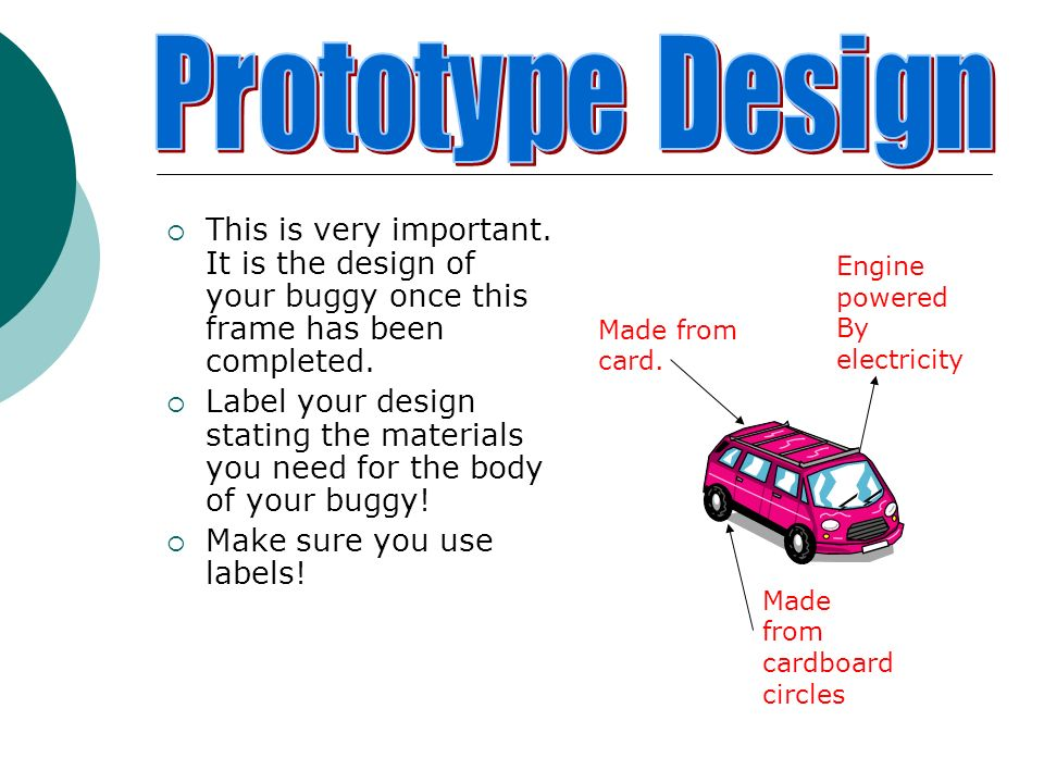Prototype Design This is very important. It is the design of your buggy once this frame has been completed.