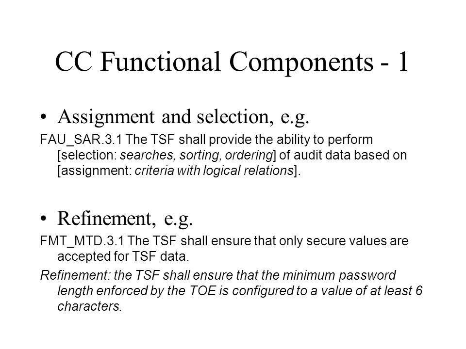 CC Functional Components - 1