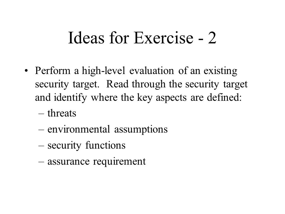Ideas for Exercise - 2