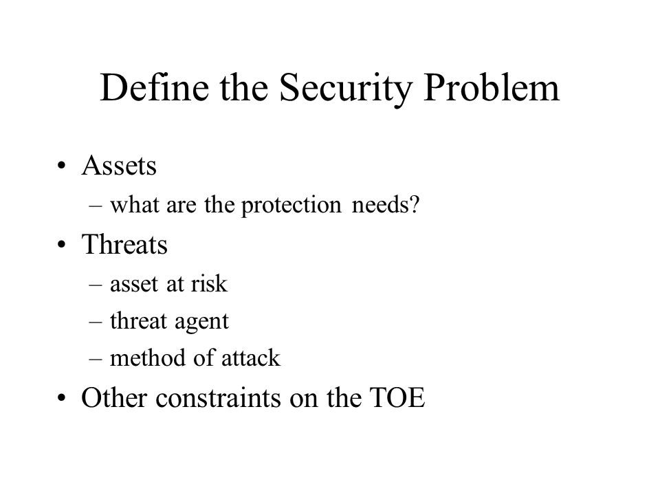 Define the Security Problem