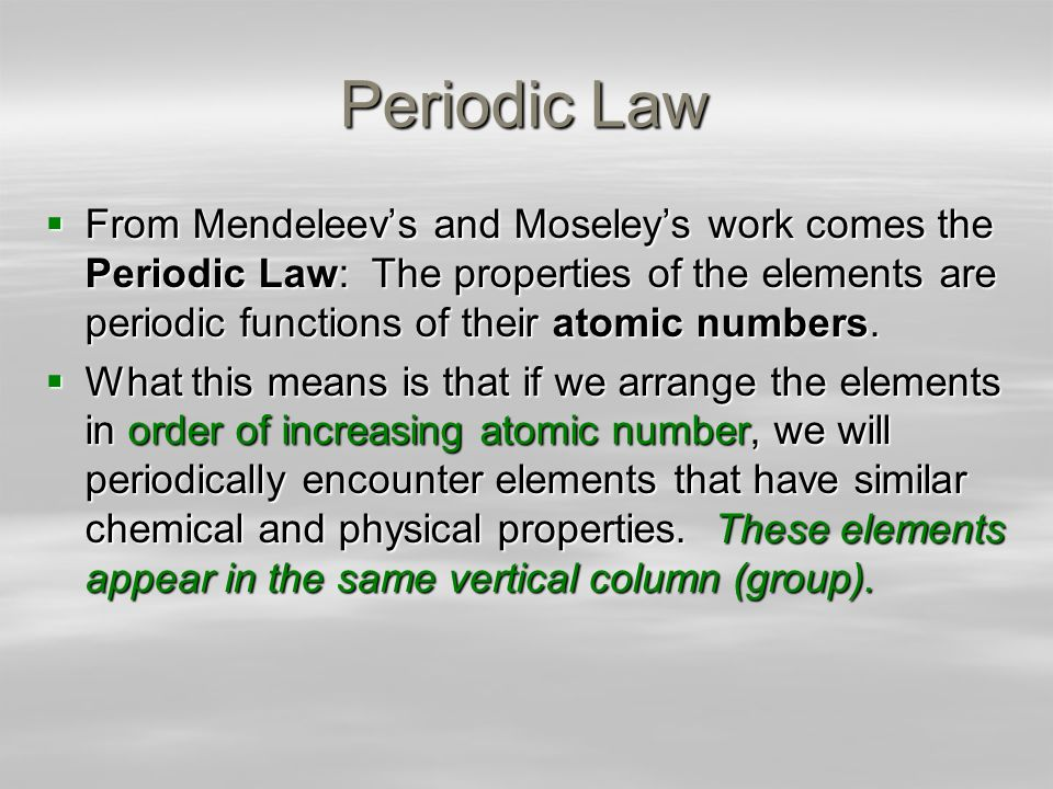 Periodic Law Example Unit 5: Periodicity. -...