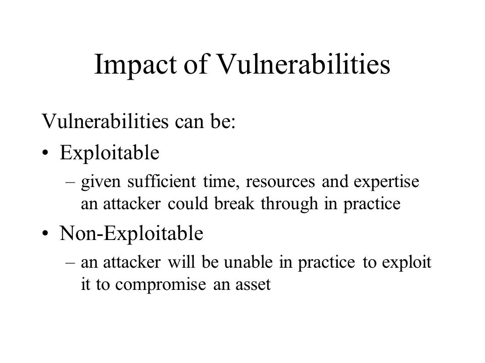Impact of Vulnerabilities