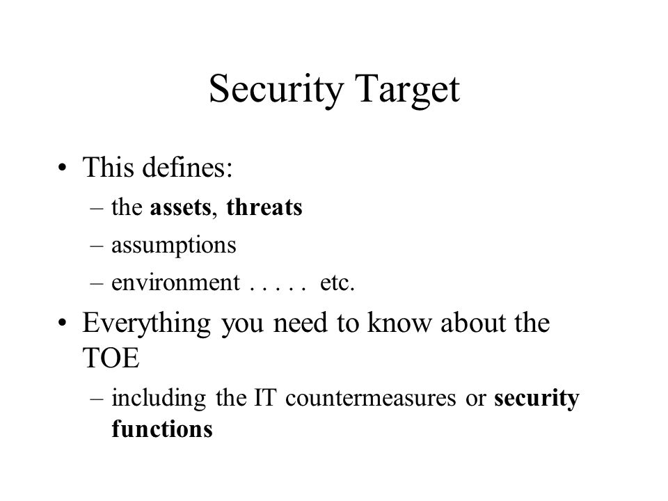 Security Target This defines: