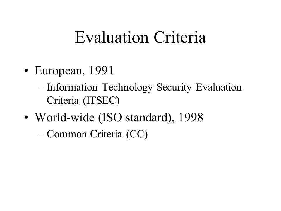 Evaluation Criteria European, 1991 World-wide (ISO standard), 1998