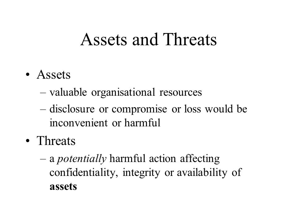 Assets and Threats Assets Threats valuable organisational resources