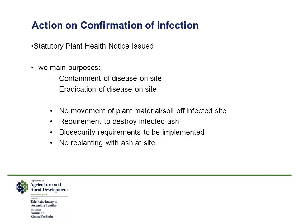 Action on Confirmation of Infection