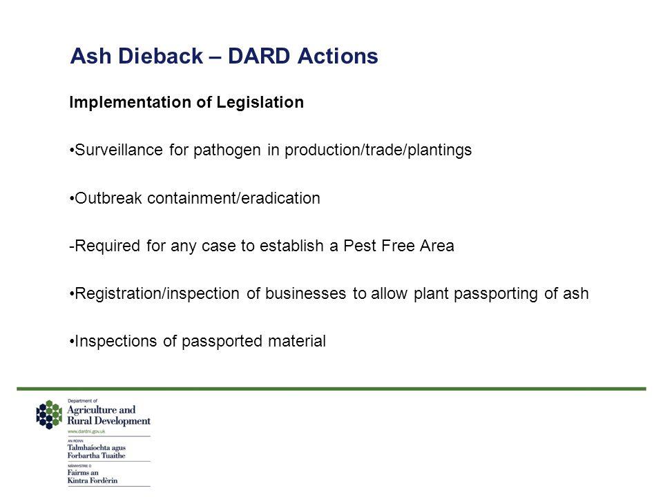Ash Dieback – DARD Actions