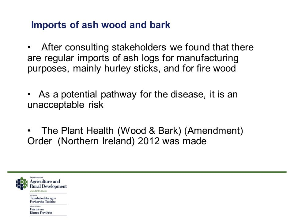 Imports of ash wood and bark