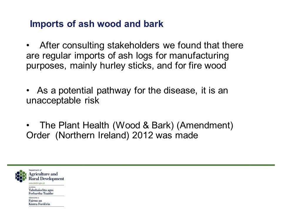 Imports of ash wood and bark