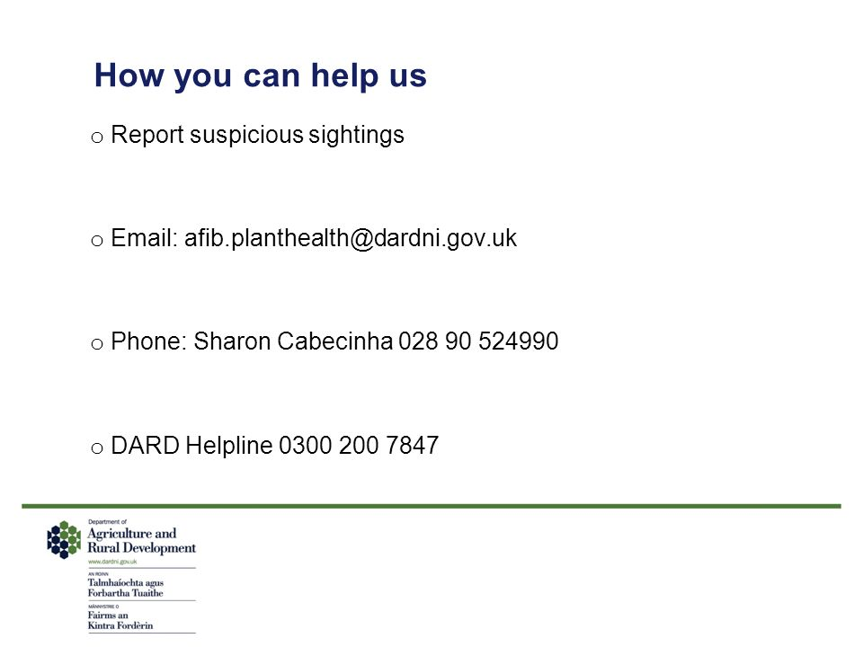 How you can help us Report suspicious sightings