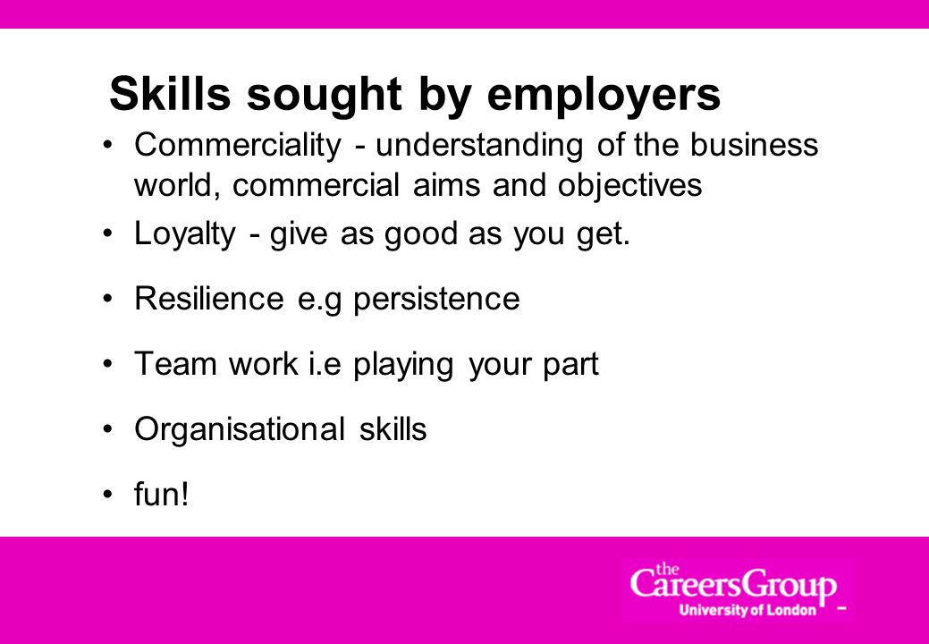 Skills sought by employers