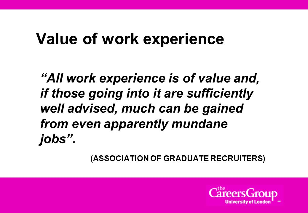 Value of work experience