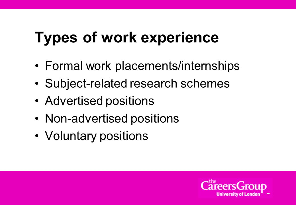 Types of work experience