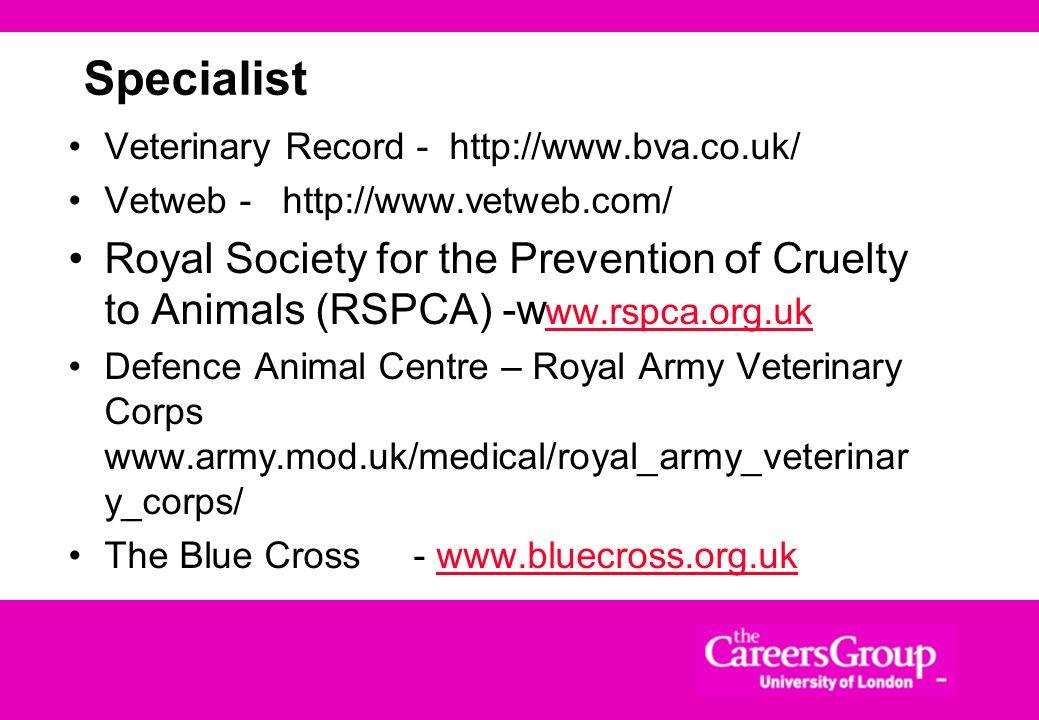 Specialist Veterinary Record - http://www.bva.co.uk/ Vetweb - http://www.vetweb.com/