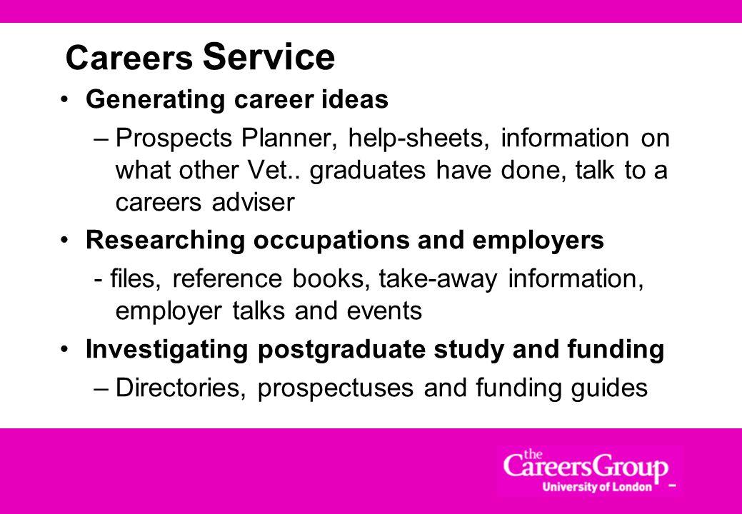 Careers Service Generating career ideas