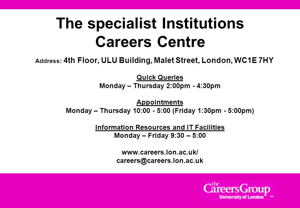 The specialist Institutions Careers Centre