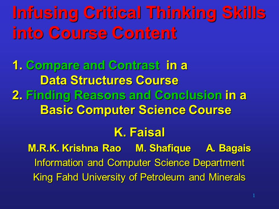 Critical thinking skills in computer science