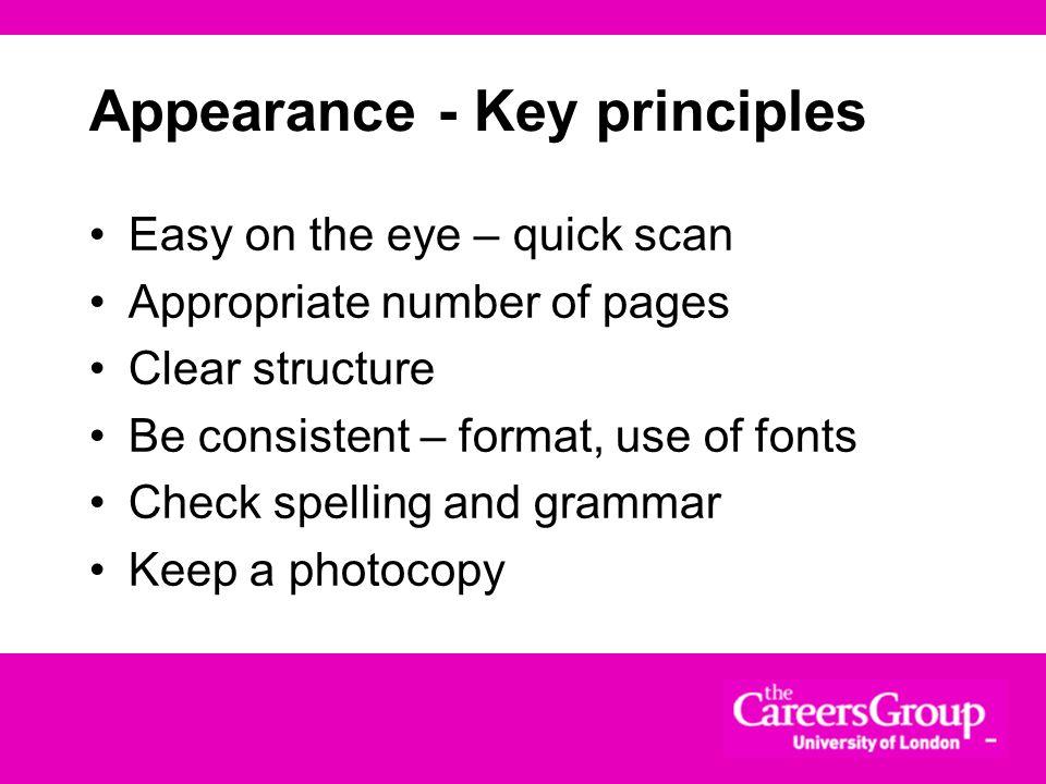 Appearance - Key principles