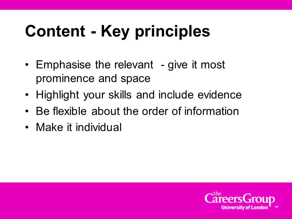 Content - Key principles
