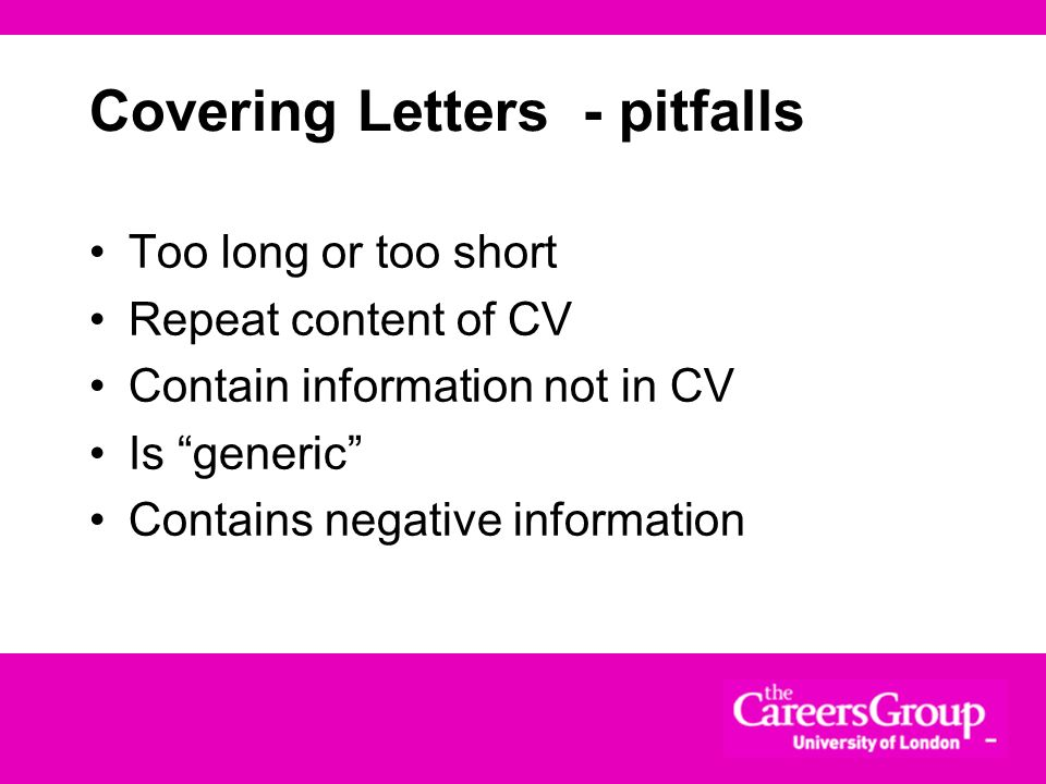 Covering Letters - pitfalls