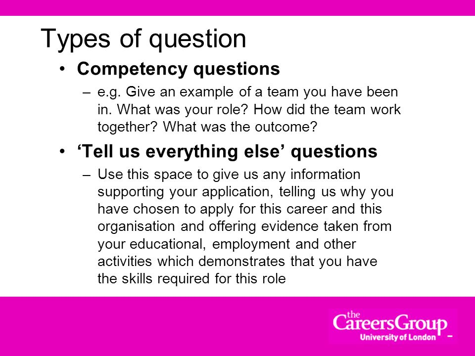Types of question Competency questions