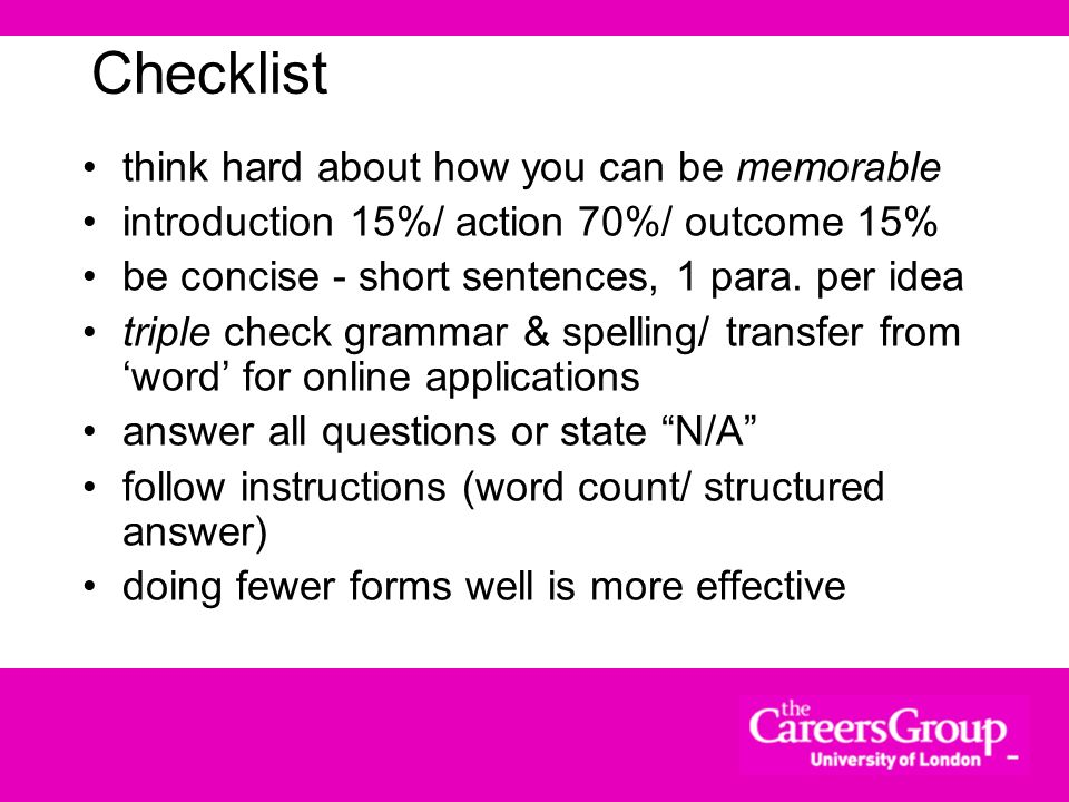 Checklist think hard about how you can be memorable
