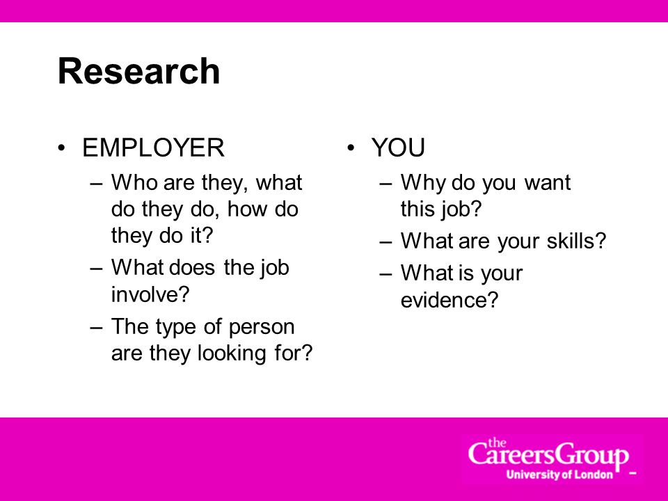 Research EMPLOYER. Who are they, what do they do, how do they do it What does the job involve The type of person are they looking for