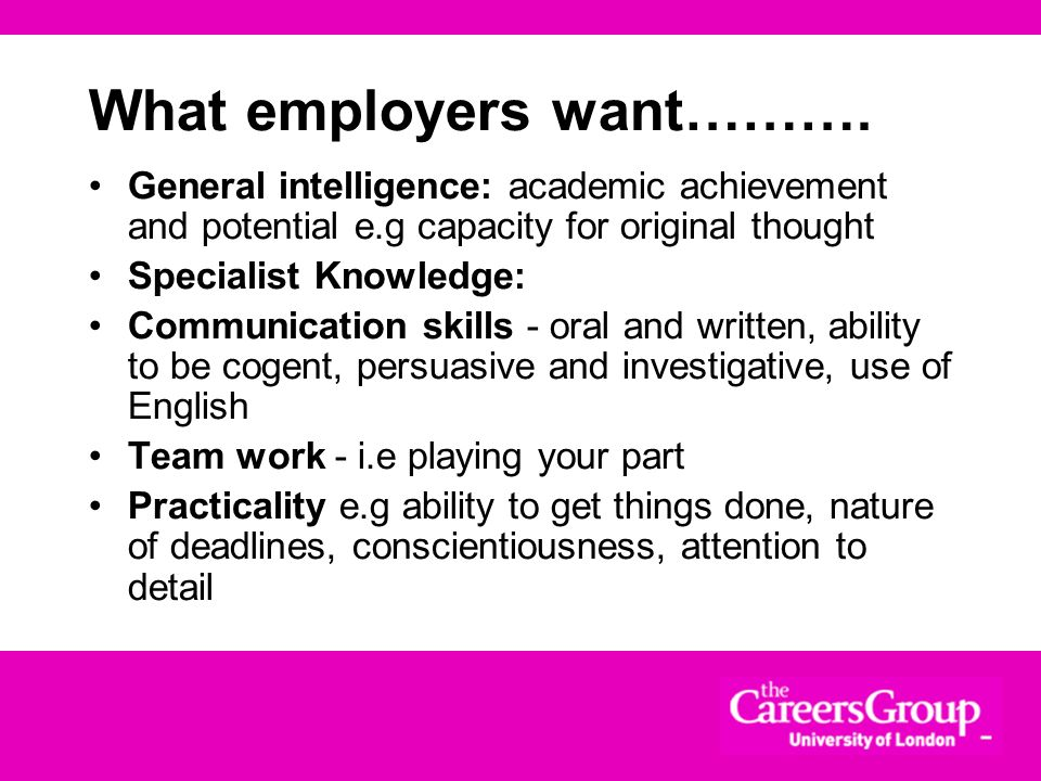 What employers want……….