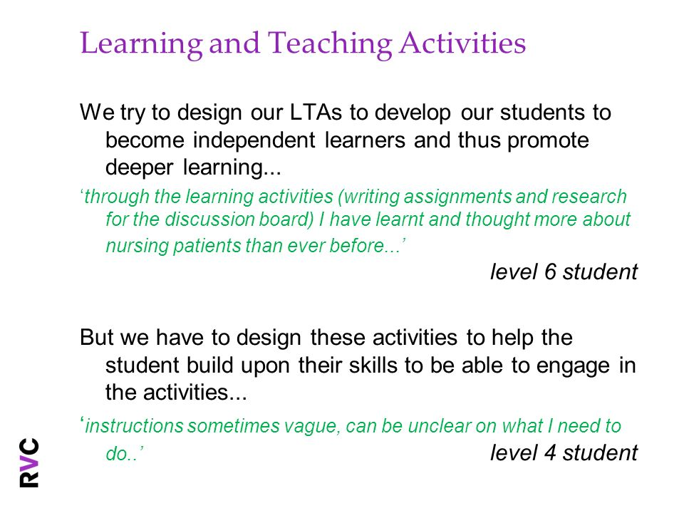 Learning and Teaching Activities