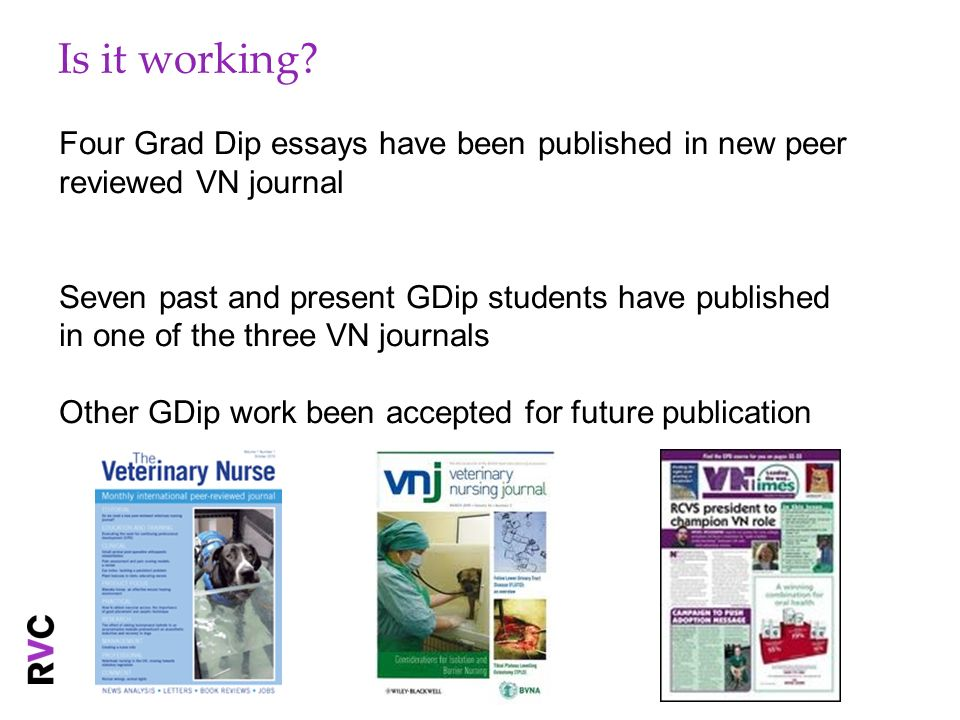 Is it working Four Grad Dip essays have been published in new peer reviewed VN journal.