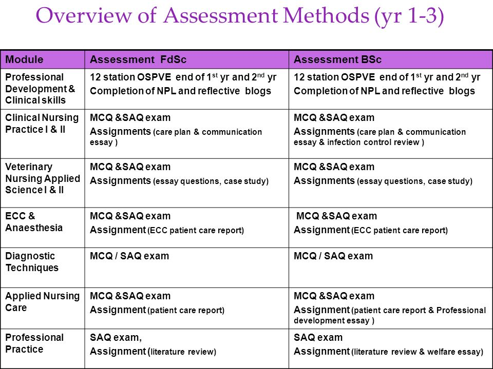 Overview of Assessment Methods (yr 1-3)