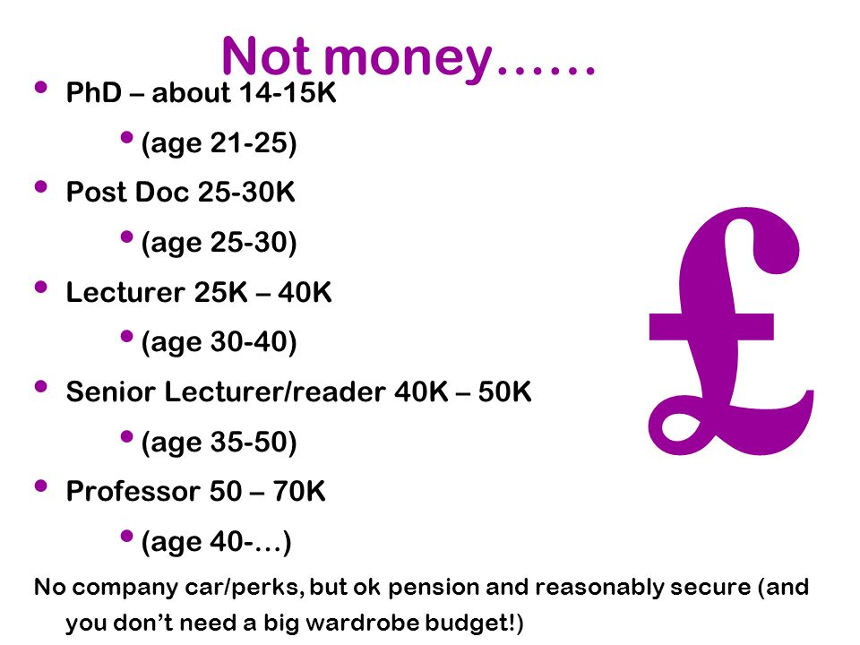 £ Not money…… PhD – about 14-15K (age 21-25) Post Doc 25-30K