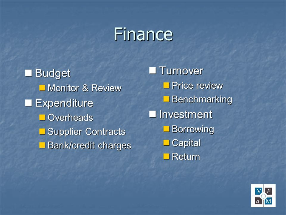 Finance Turnover Budget Expenditure Investment Price review