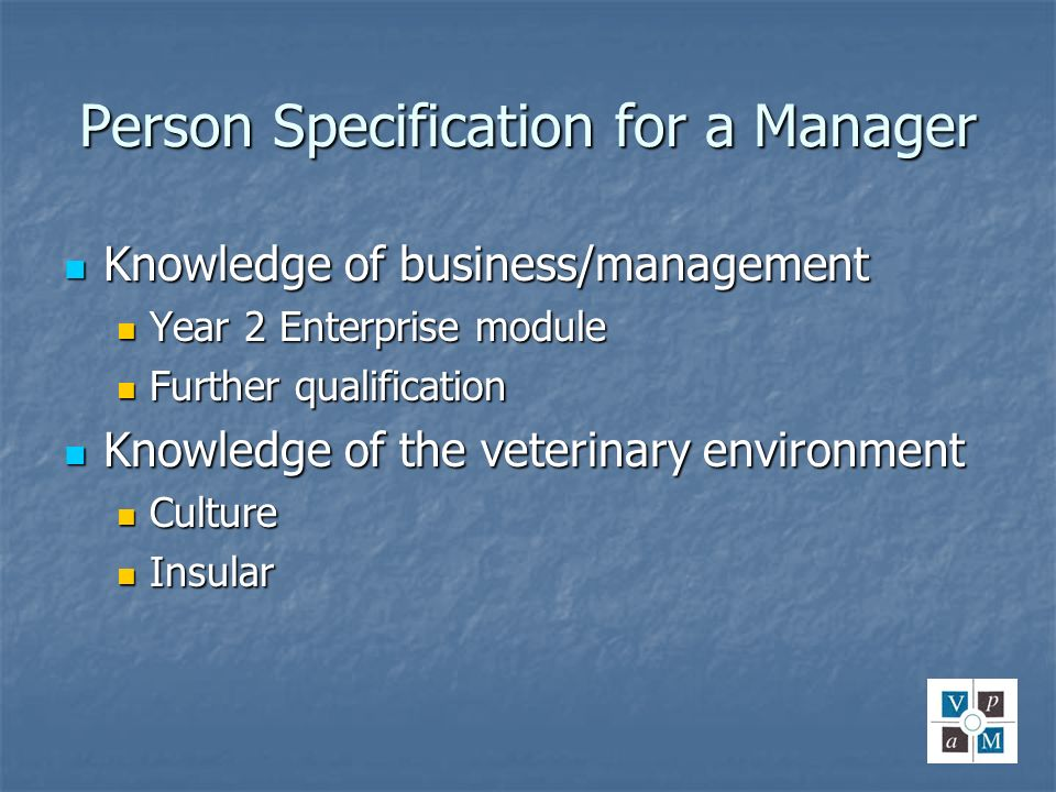 Person Specification for a Manager