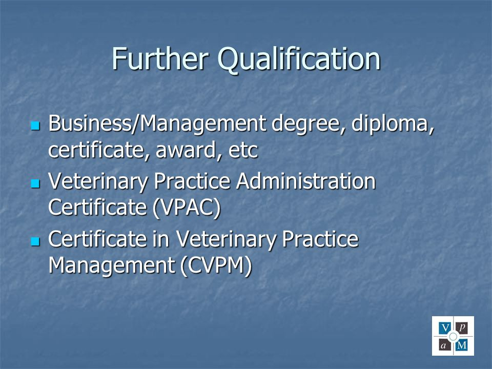 Further Qualification