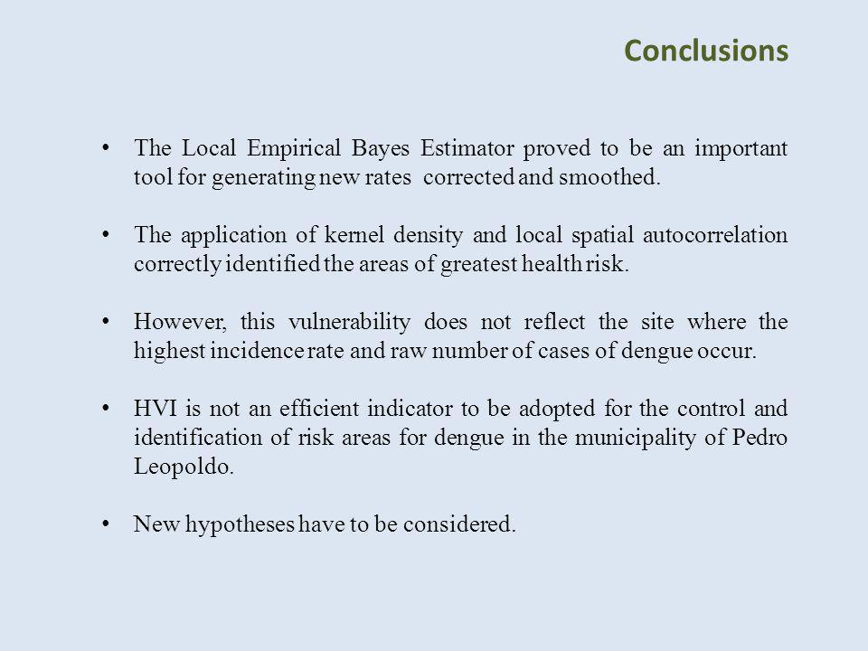 Conclusions The Local Empirical Bayes Estimator proved to be an important tool for generating new rates corrected and smoothed.