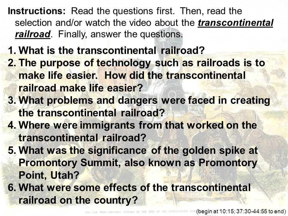 the transcontinental railroad essay Hensley 1 matthew hensley engl 102 research essay draft 07 may 2016  transcontinental railroad the transcontinental railroad was one.