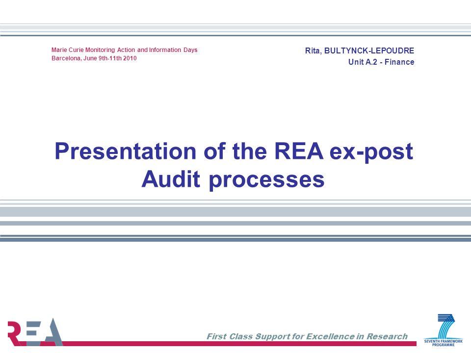 Presentation of the REA ex-post Audit processes