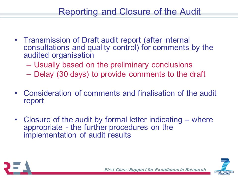 Reporting and Closure of the Audit