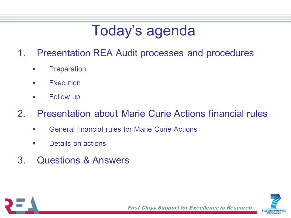 Today's agenda Presentation REA Audit processes and procedures