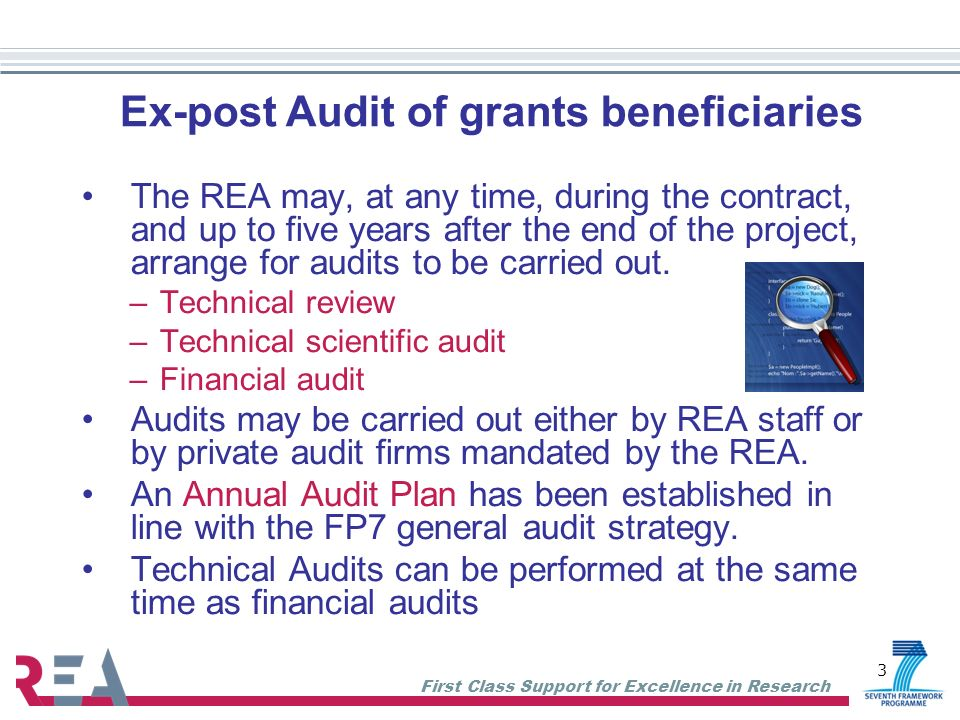 Ex-post Audit of grants beneficiaries