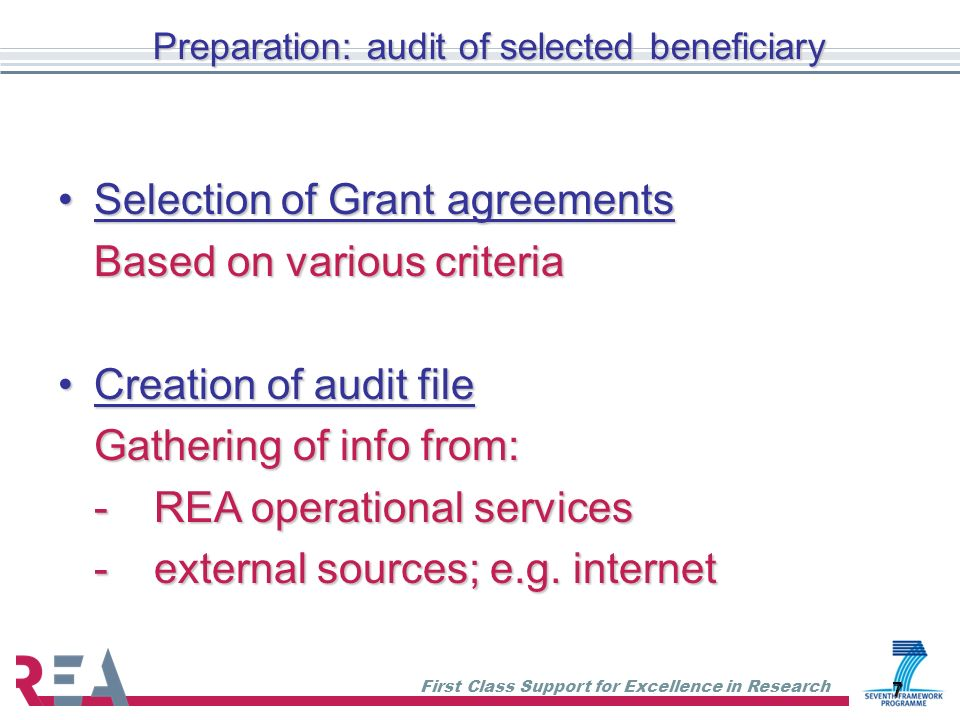 Preparation: audit of selected beneficiary