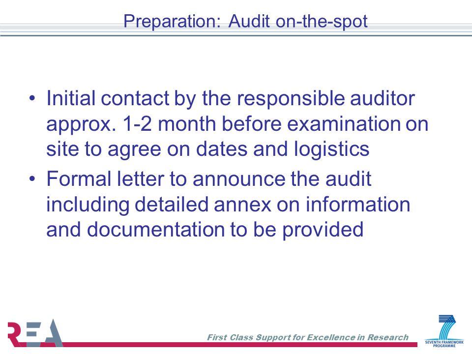 Preparation: Audit on-the-spot